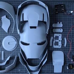 IronMan.jpg Download free STL file Iron Man Helmet, Articulated, Wearable • 3D printer object, BoxAndLoop
