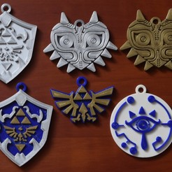 CONJUNTO.JPG Download STL file Zelda - Collection of 4 key rings • 3D print template, IDEXECT