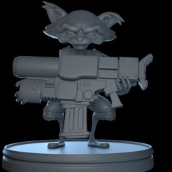 Rocket_front.jpg Download OBJ file Rocket Raccoon Marvel Bust • 3D print template, Rasto-DM
