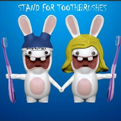 Без имени-2.jpg Download STL file Rabbid (Rayman). Stand for toothbrushes • 3D printer design, Shmel