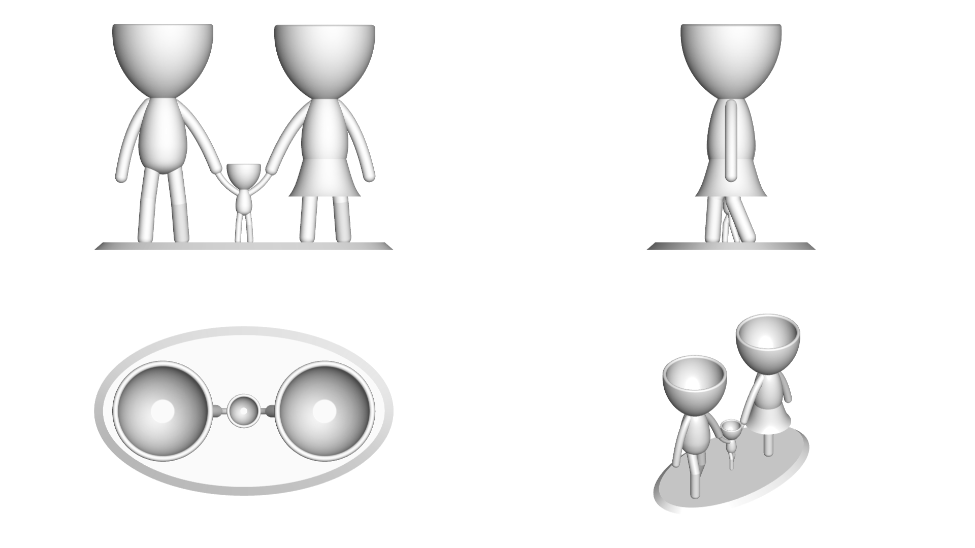 Familia_Blanco_2.png Download free STL file Macetas Florero ROBERT plant familia mama papa hijo - FAMILY FLOWERPOT VASE MOTHER DAD SON / DAUGHTER • 3D printable object, PRODUSTL56