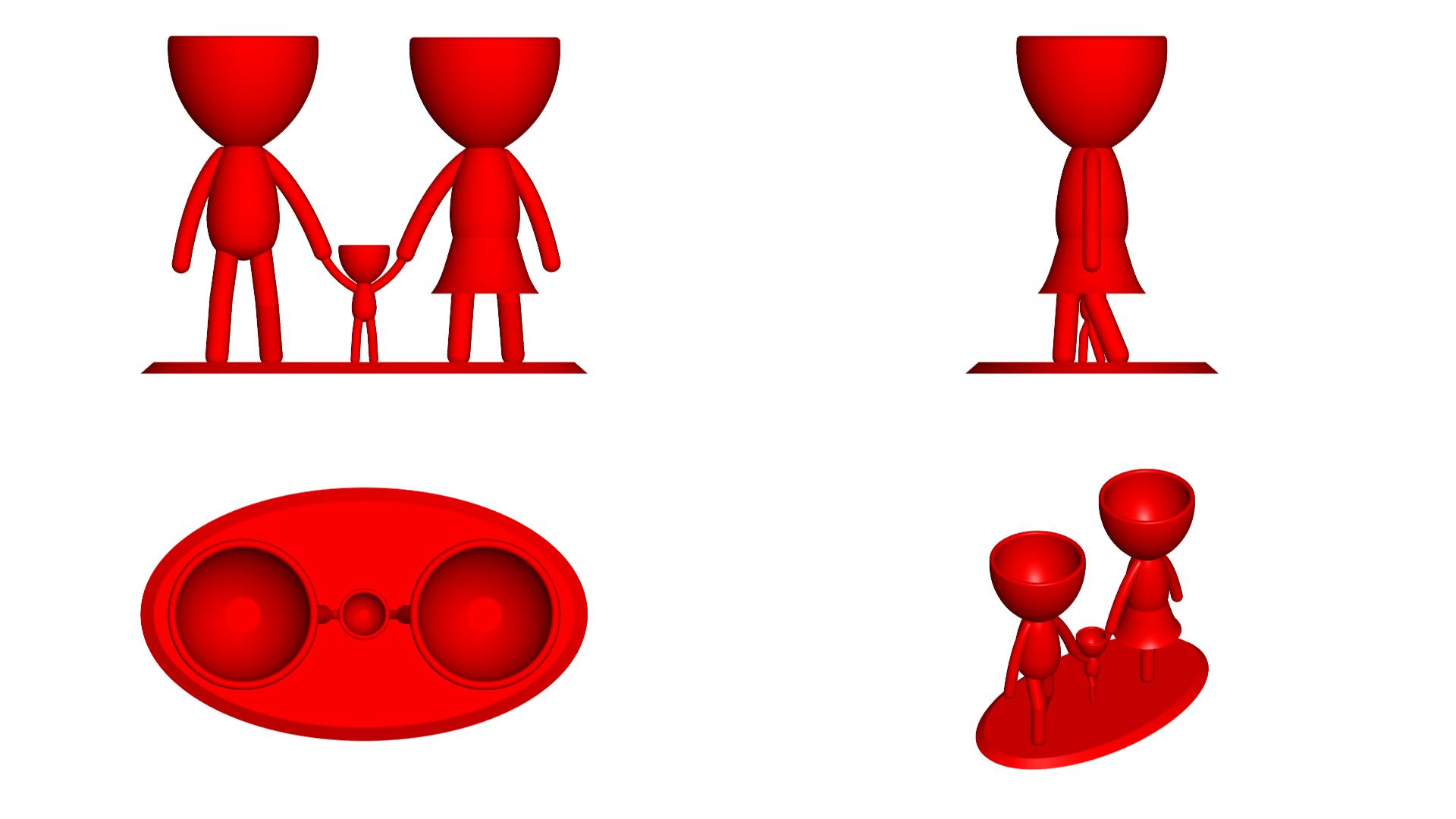 Familia_Rojo_2.png Download free STL file Macetas Florero ROBERT plant familia mama papa hijo - FAMILY FLOWERPOT VASE MOTHER DAD SON / DAUGHTER • 3D printable object, PRODUSTL56