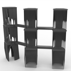 ConnectedWatchtowerThreeFull.jpg Download free STL file Modular Brutalist Watchtower With Bridges 28mm • 3D printing model, AlbrektDurer