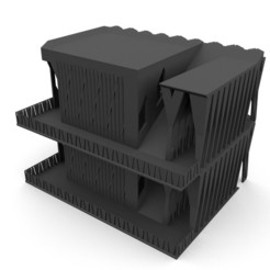 BuildingWithStairsFront_WithRoof.jpg Download free STL file Brutalist Building With Seperate Stairs 28MM • 3D print object, AlbrektDurer