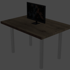 table.png Download OBJ file Monitor on a table • 3D printable object, myemail2