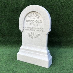 "tomb1.jpg Download free STL file 3D Haunted Mansion ""GOOD OLD FRED"" Tombstone • 3D printer model, brettlawler"