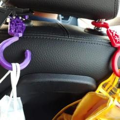 Car_seat_hook.jpg Download STL file Car seat hook for shopping bag or any bags hanging • 3D printable model, johnlamck
