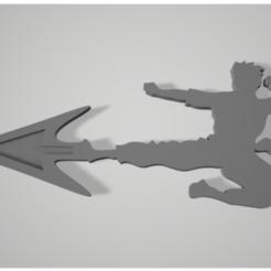 BruceLee_fly_kick_direction_sign.PNG Télécharger fichier STL gratuit Bruce Lee donne un coup de pied au panneau de direction de la flèche • Plan à imprimer en 3D, johnlamck