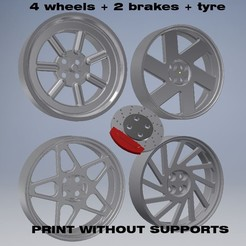SDVAF.jpg Download STL file 4 wheels + brake + tyre • 3D print object, Turbo3D
