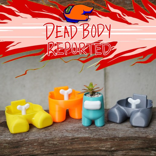 reported.jpg Download STL file Among Us Self Watering Planter • Object to 3D print, JoshuaDomiel