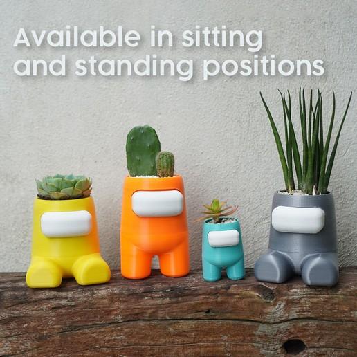 sitting standing.jpg Download STL file Among Us Self Watering Planter • Object to 3D print, JoshuaDomiel