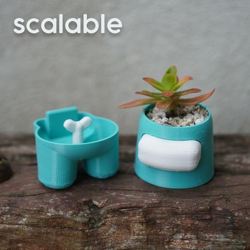 scalable 2.jpg Descargar archivo STL Entre nosotros Plantador de auto-riego • Objeto para imprimir en 3D, JoshuaDomiel