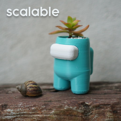 scalable.jpg Download STL file Among Us Self Watering Planter • Object to 3D print, JoshuaDomiel