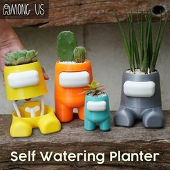 1.jpg Download STL file Among Us Self Watering Planter • Object to 3D print, JoshuaDomiel