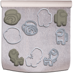 Among Us Biscoitos.png Download STL file AMONG US COOKIE CUTTERS (CORTADORES DE BISCOITO AMONG US) • 3D printable design, Jean_Nascimento
