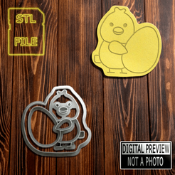 Pintinho 87 (Final).png Download STL file COOKIE CUTTERS - EASTER CHICK MODEL • 3D printer object, Jean_Nascimento