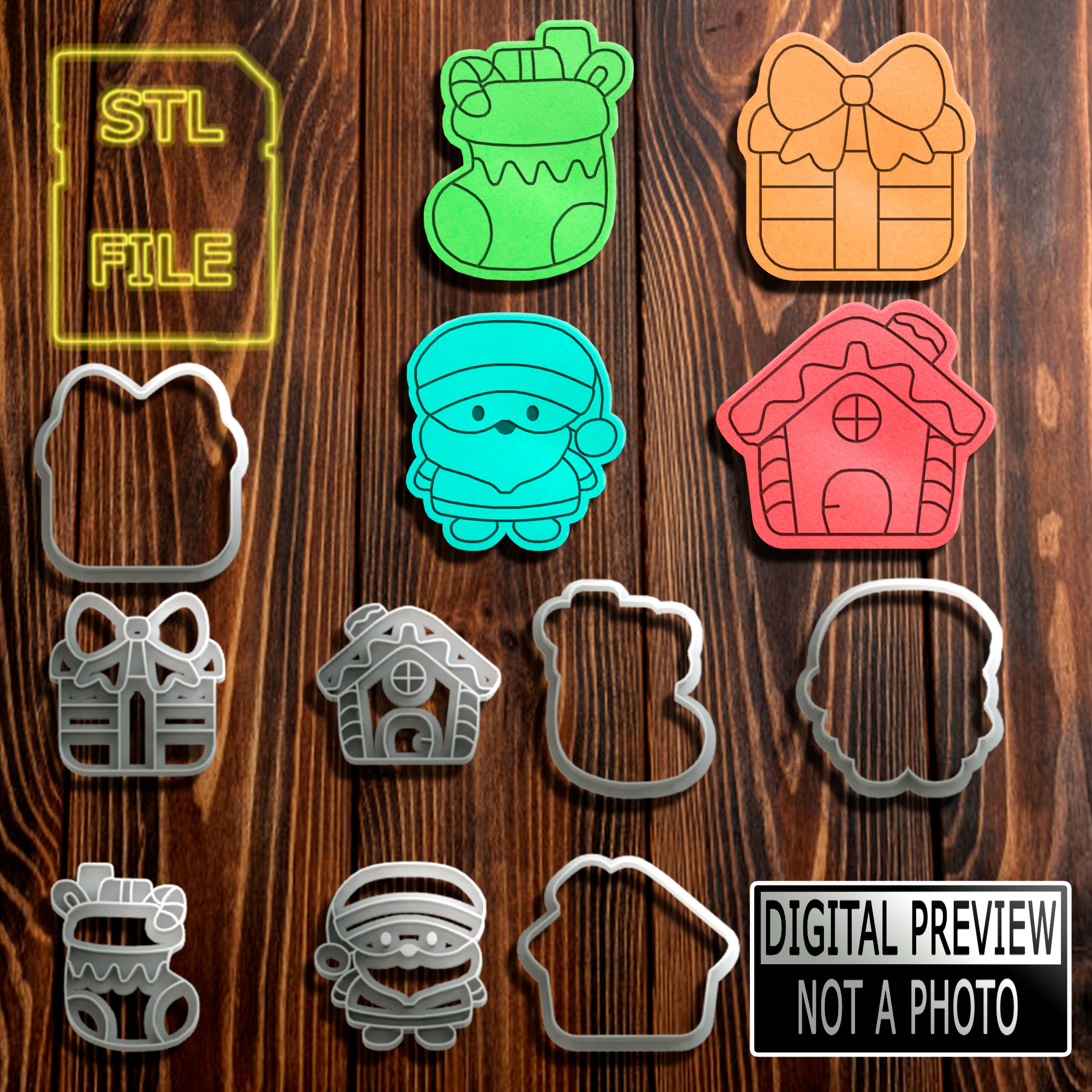 Marcadores Natal Mod1(Final).jpg Download STL file [10% OFF] COOKIE CUTTERS - 4 MODELS - CHRISTMAS THEME • 3D printing template, Jean_Nascimento