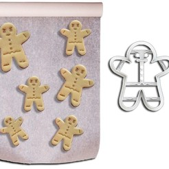 Biscoitos Gingerbread ML.jpg Download STL file Christmas Theme Cookie Cutters - Gingerbread Model • 3D printing object, Jean_Nascimento