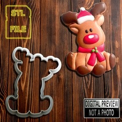 Rena 90(FINAL).jpg Download STL file COOKIE CUTTER - CHRISTMAS REINDEER MODEL • 3D printable model, Jean_Nascimento