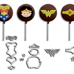 Kit Mulher Maravilha New2 - ML.jpg Télécharger fichier STL Pâte à sucre, fondants et coupeurs de biscuits - Thème Wonder Woman • Modèle pour imprimante 3D, Jean_Nascimento