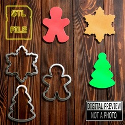 Arvore, Floco e Boneco(Final).jpg Download STL file Cookie Cutters - Tree, Snowflake and Gingerbread • 3D printable design, Jean_Nascimento