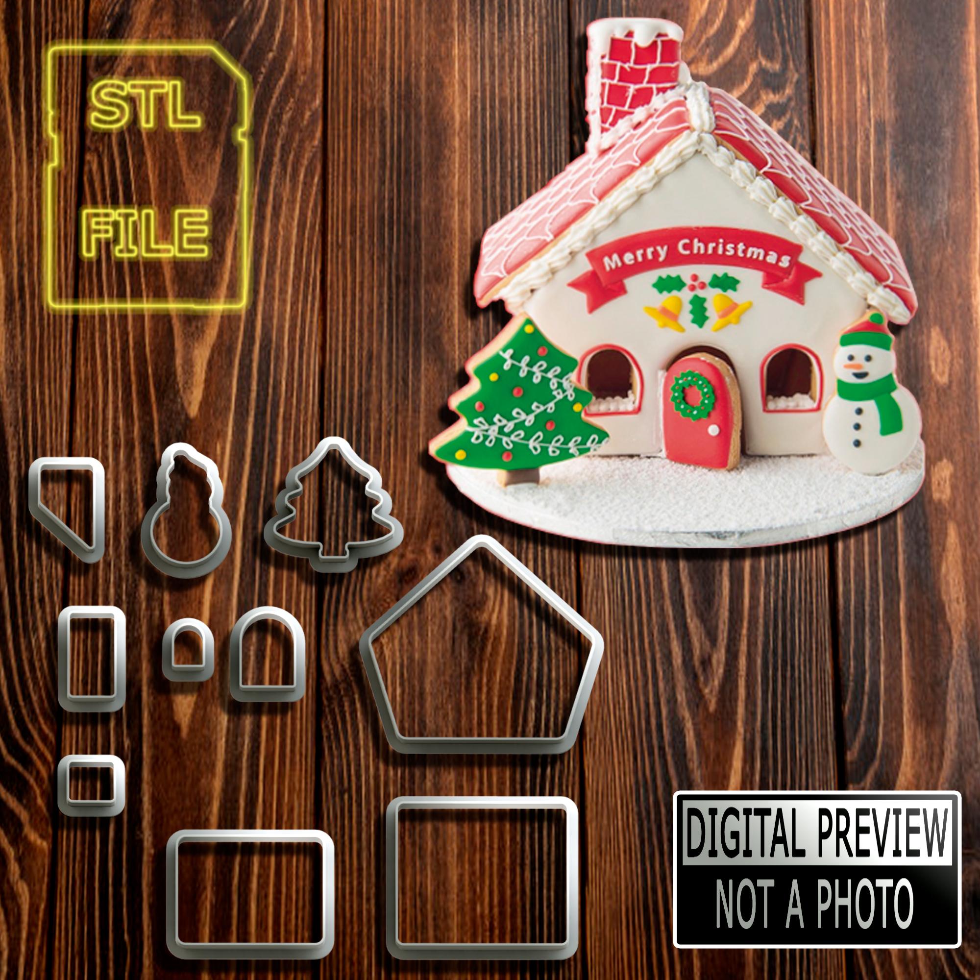 Casa 3d Modelo 2.jpg Download STL file [10% OFF] 3D HOUSE COOKIE CUTTER - CHRISTMAS THEME • 3D print object, Jean_Nascimento