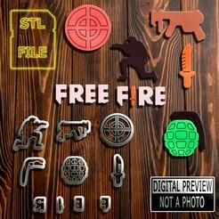 Free Fire(Final).jpg Télécharger fichier STL COUPEUR DE PÂTE À SUCRE - MODÈLE À FEU LIBRE • Plan pour imprimante 3D, Jean_Nascimento