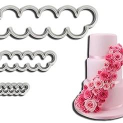 Kit 3 Rosas ML.jpg Télécharger fichier STL 3 Coupeuses de roses pour biscuits et pâtes sucrées( 3 Cortadores de Rosas para Biscuit e Pasta Americana) • Objet pour impression 3D, Jean_Nascimento