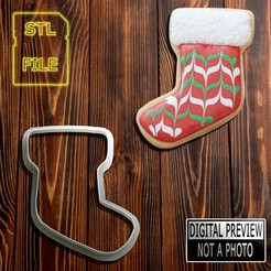 Bota 90 (Final).jpg Download STL file [50% OFF] COOKIE CUTTER - CHRISTMAS BOOT THEME • 3D printable design, Jean_Nascimento