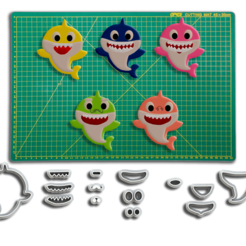 BabyShark Kit 1 Final - ML.png Download STL file Baby Shark Cutters for Biscuit and Sugar Paste • 3D printing object, Jean_Nascimento
