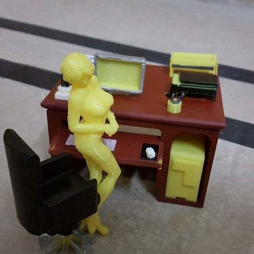 Time_to_work.jpg Download free STL file Office Desk and Chair • Design to 3D print, okMOK