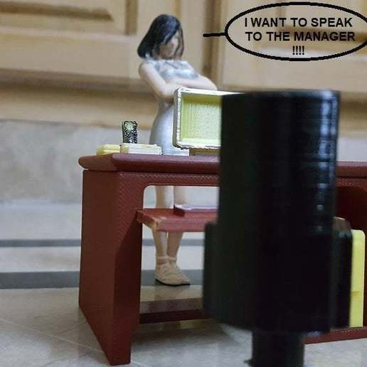 Callie_wanna_complain.jpg Download free STL file Office Desk and Chair • Design to 3D print, okMOK