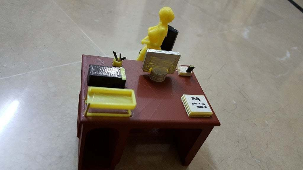 Time_to_work_3.jpg Download free STL file Office Desk and Chair • Design to 3D print, okMOK