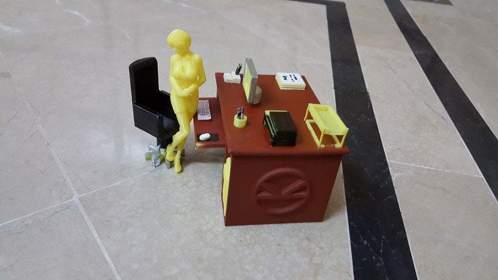Time_to_work_2.jpg Download free STL file Office Desk and Chair • Design to 3D print, okMOK