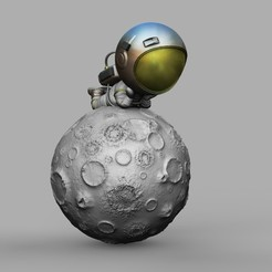 Spaceman 1 0.jpg Download STL file CHIBI SPACEMAN LYING ON MOON 3D PRINT MODEL 3D • 3D printing template, seandarkhouse