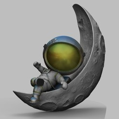untitled.37.jpg Download STL file CUTE CHIBI SPACEMAN ON HALF MOON 3D PRINT MODEL • Template to 3D print, seandarkhouse