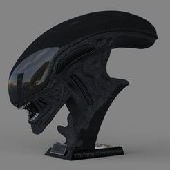 01.jpg Download STL file Alien Xenomorph Bust 3D Print Stl Model Diorama • 3D printer object, seandarkhouse