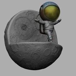 Spaceman 1 0.jpg Download STL file CHIBI SPACEMAN ON EDGE OF MOON 3D PRINT • 3D printer template, seandarkhouse