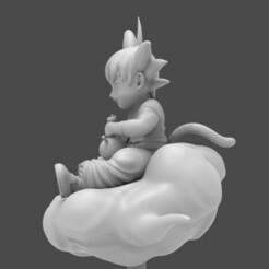 3.jpg Télécharger fichier STL Dragon Ball Kid Goku WIth Bong On Cloud Modèle d'impression en 3D • Design pour impression 3D, seandarkhouse