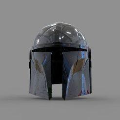0_18.jpg Télécharger fichier STL Star Wars The Mandalorian Damaged Helmet modèle d'impression 3D Cosplay • Modèle imprimable en 3D, seandarkhouse