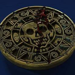 Medallion_crop.jpg Download free STL file Aztec Gold Drink Coaster • Template to 3D print, TJDesigns