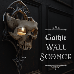 Skull Sconce Cover IG_Cults.png Download STL file Gothic Wall Sconce • 3D printable template, TJDesigns