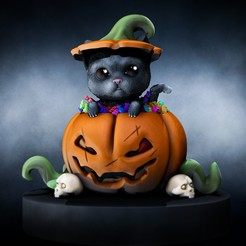 FinalRender.jpg Download STL file Cat Halloween • Object to 3D print, BoZzai