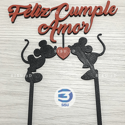 cake_topper_Mickey-Minnie.png Download STL file Cake Toppers, Happy Birthday, Disney, Mickey, Love • 3D printing model, jarito11