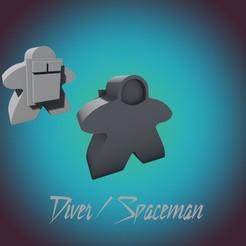 Diver Spaceman.jpg Télécharger fichier STL BEST MEEPLE MEGA PACK INCLUDING ALIEN & MECH (VERSION COMMERCIALE) • Modèle pour impression 3D, Herakles