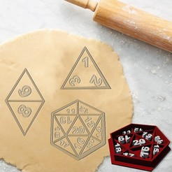 Mockup.jpg Download STL file FRP RPG REAL DICE COOKIE CUTTER D20 D4 D8 (FOR PERSONAL USE ONLY) • Model to 3D print, StarForgeCustoms