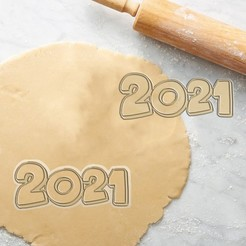 2021.jpg Download STL file HAPPY NEW YEAR 2021 COOKIE CUTTER (FOR PERSONAL USE ONLY) • 3D printer design, Herakles