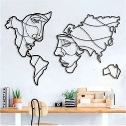 1111.JPG Download STL file Face World Map - Laser Cutting • 3D print object, SerdarKocyigit
