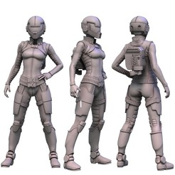 Miniature Render.jpg Download STL file Female Pilot [Fate of the Eidolon] • 3D printing model, FITE