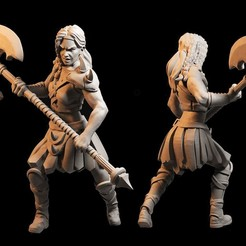 barbarian.jpg Download STL file Female Barbarian with Axe • 3D print template, FITE